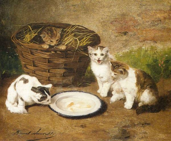 Neuville Alfred Arthur Brunel De Kittens By A Bowl Of Milk